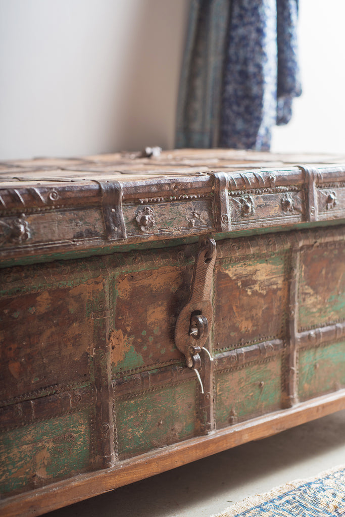 Blue Wooden Chest With Metal Trim