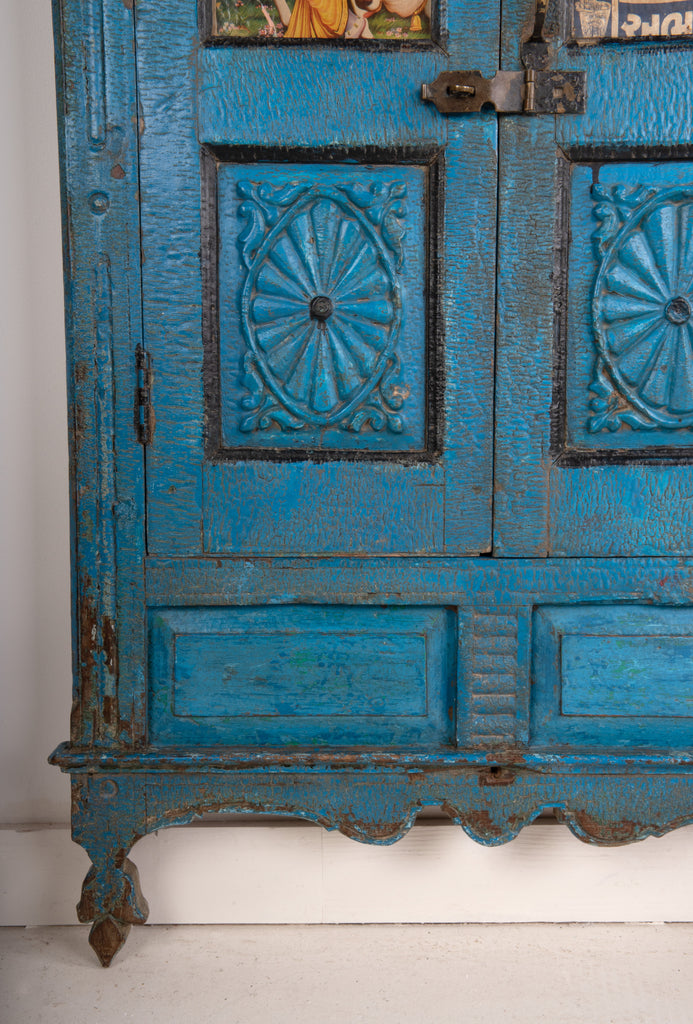 Blue 2 Door Painted & Carved Shallow Cabinet With Mirrored Back