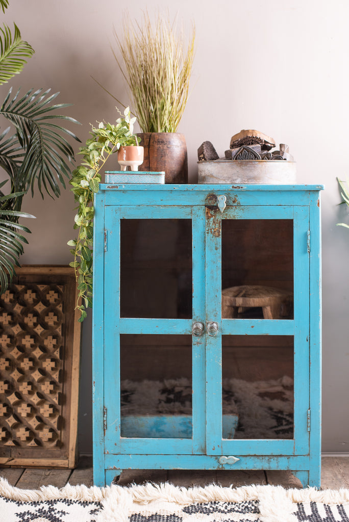 Pale Blue 2 Door Glazed Cabinet