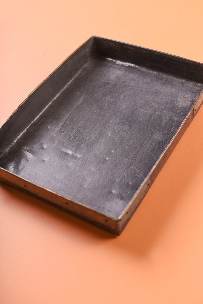 Grey Metal Rectangular Tray