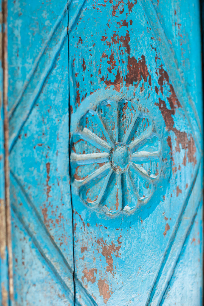 Carved Blue Vintage Cupboard