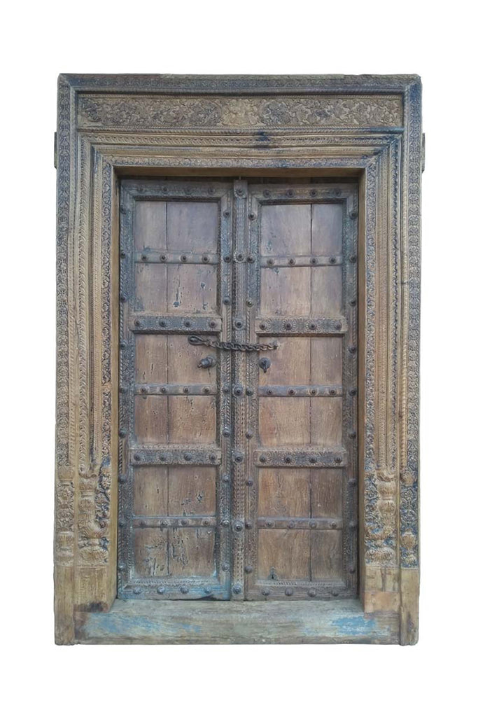 Vintage Old Carved Door & Frame