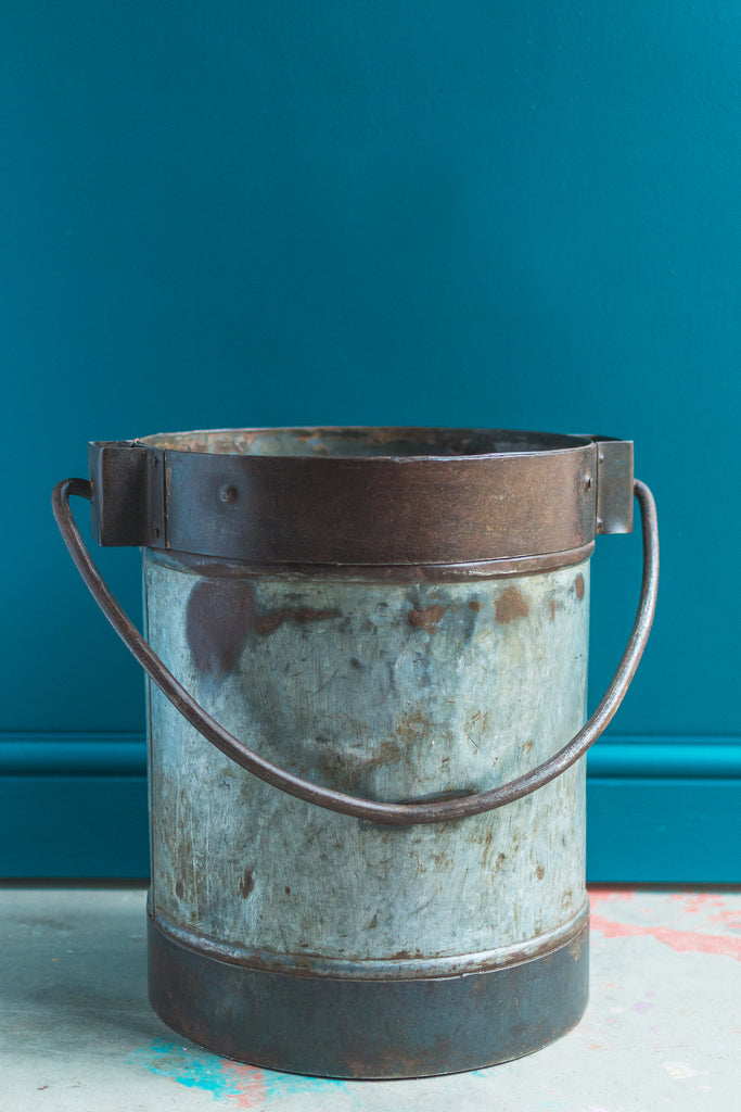 Old Galvanised Drum Bucket