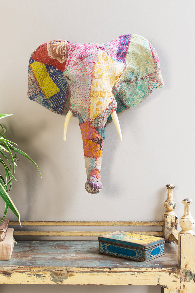 Embroidered Patchwork Elephant Wall Plaque
