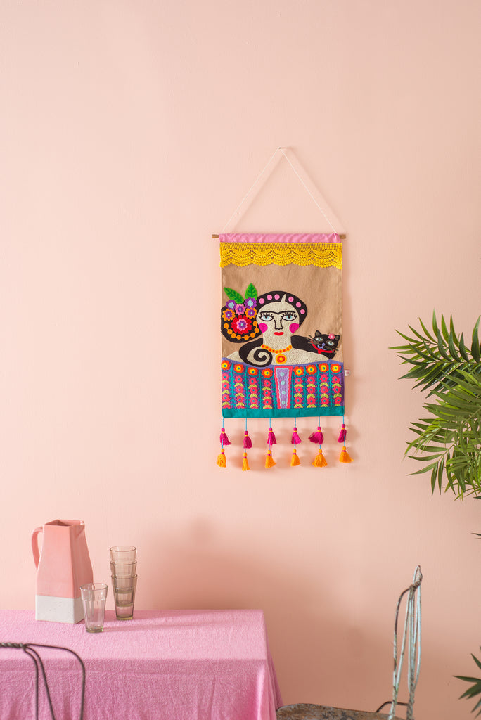 Frida Kahlo Embroidered Wallhanging