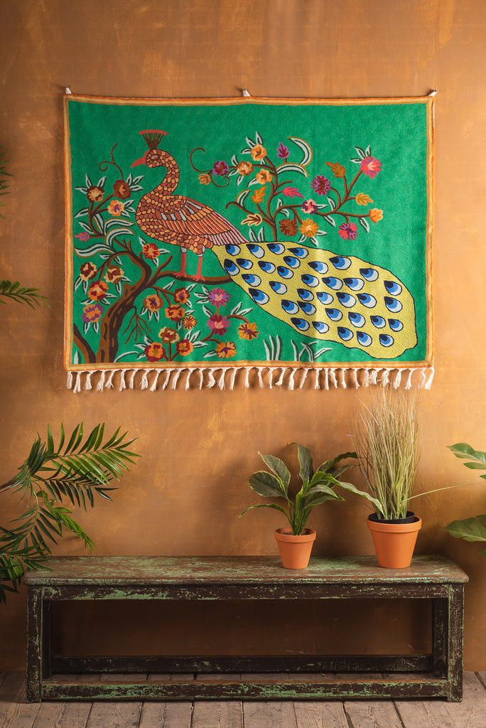 Green Peacock Kashmiri Wall Hanging