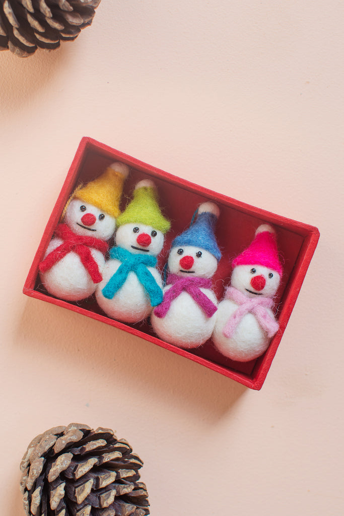 Set of 4 Felted Snowmen Decorations (416942967)