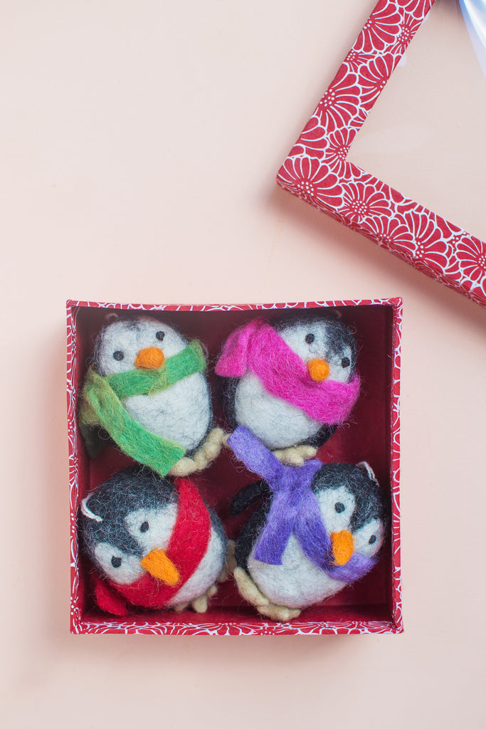 Set Of Four Felt Penguin Decorations (419139691)