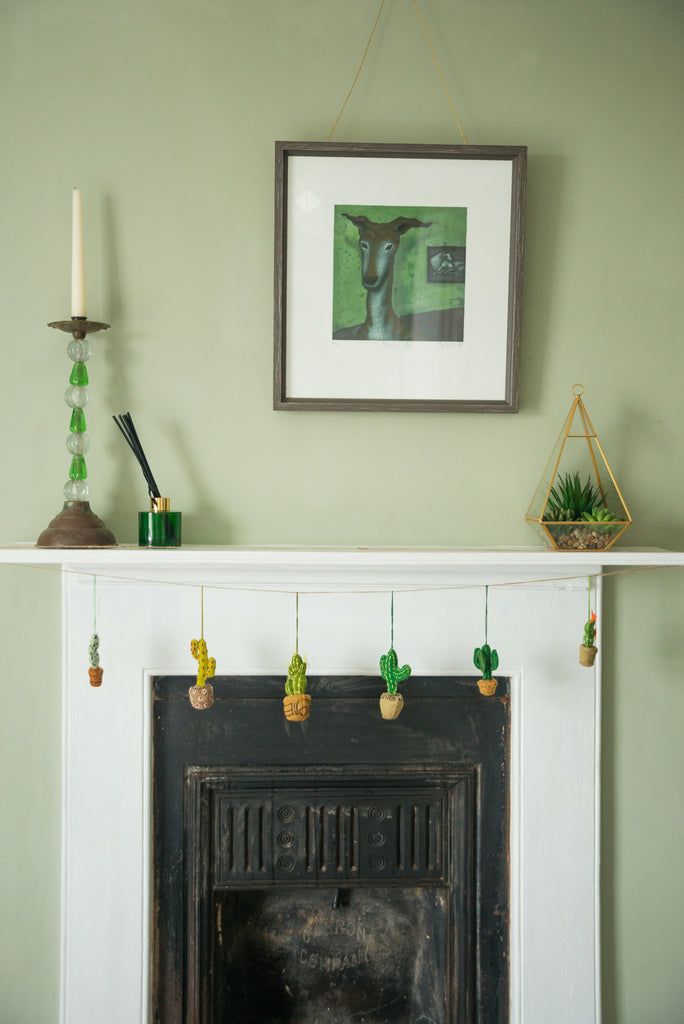 Felt Cactus Hanging Decoration with Green Flowers