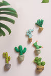 Felt Cactus Hanging Decoration with Orange Flower