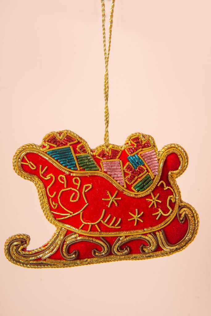 Hand Embellished Sleigh Decoration