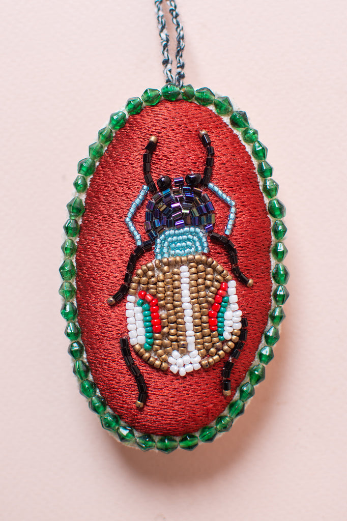 Embroidered Bug Hanging Ornament