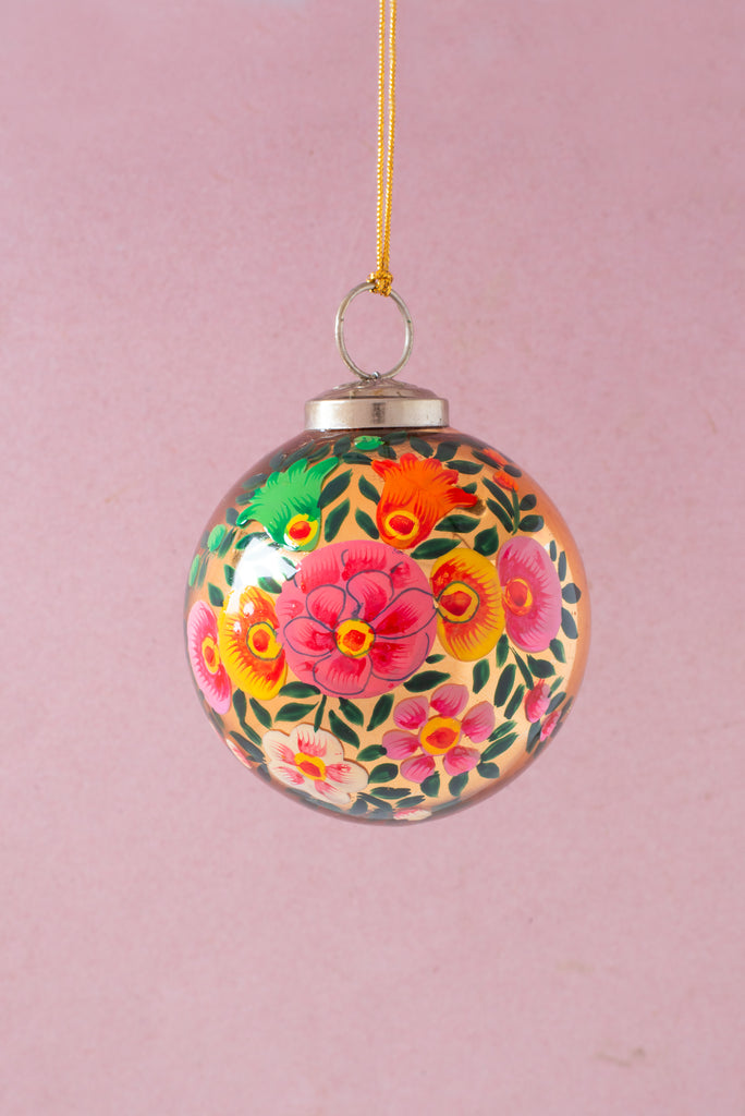 Gold Kashmiri Bauble with hand painted flower design