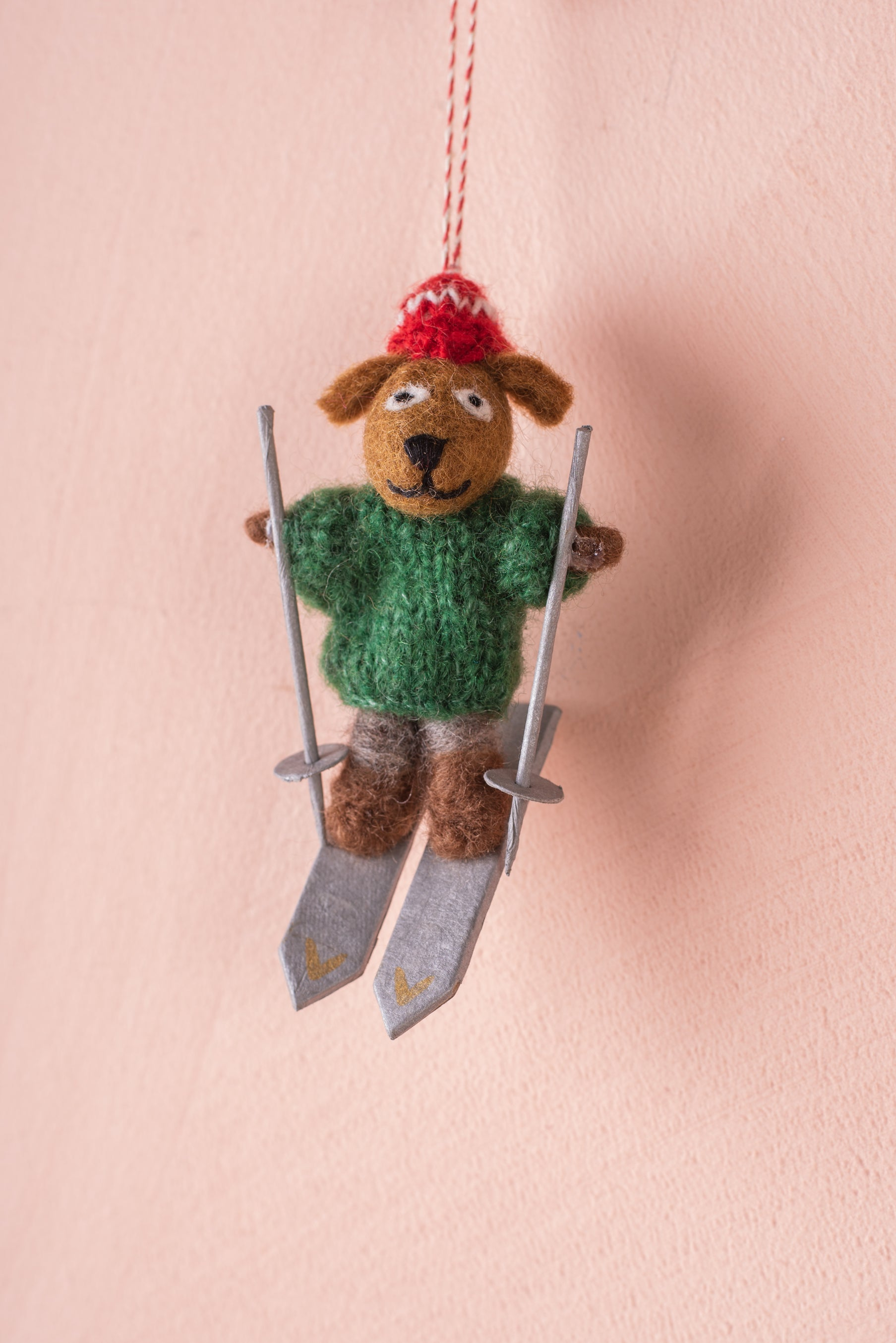 Felt Skiing Dog Decoration