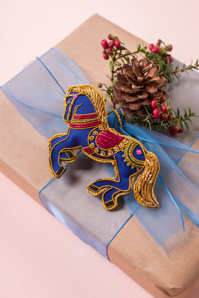 Blue Horse Plastic Free Outer/Recycled Plastic Filled Decoration