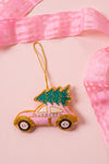 Plastic Free Pink Car with Tree Decoration