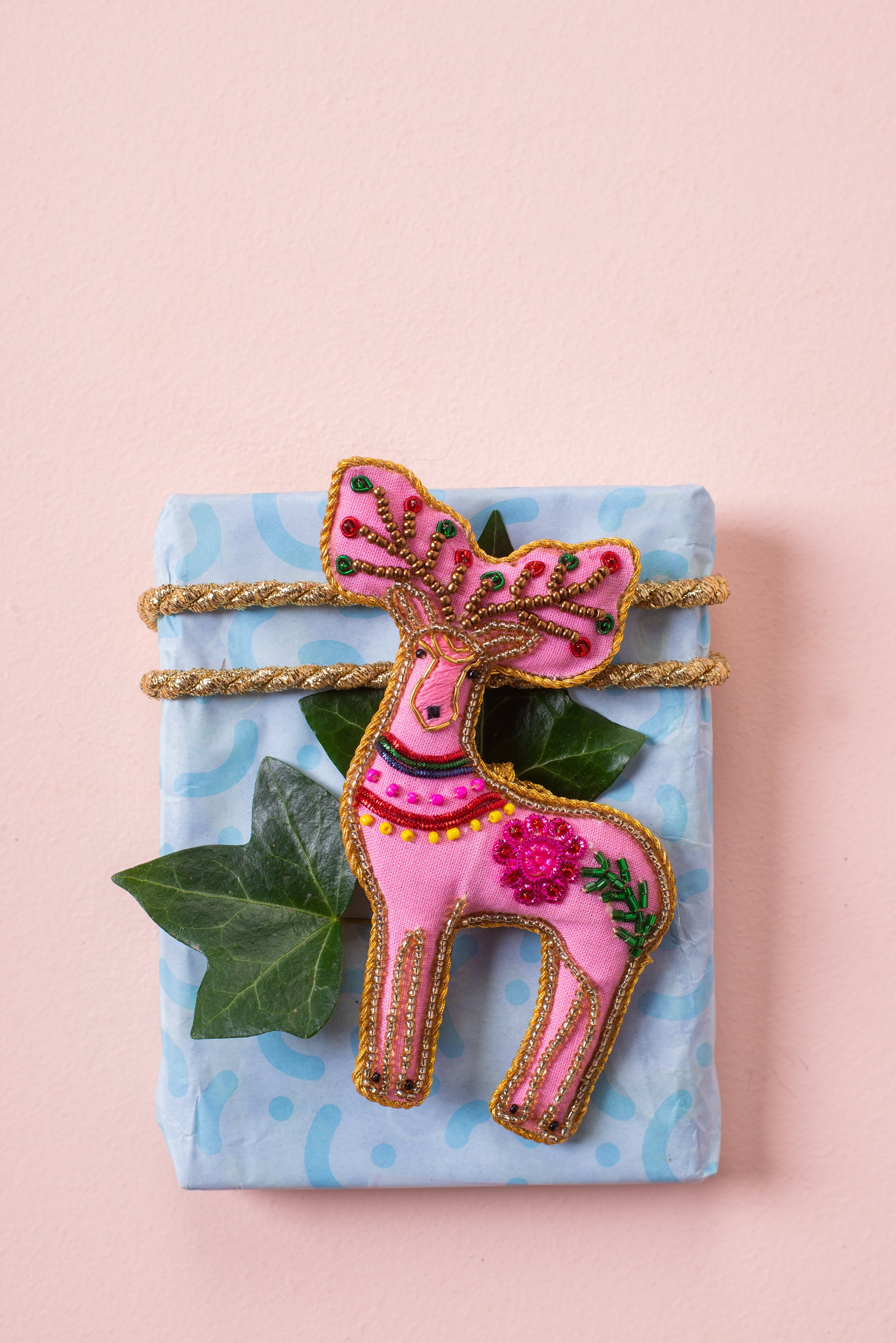 Plastic Free Pink Reindeer Decoration