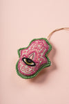 Pink Hamsa Hand Embroidered Hanging Ornament