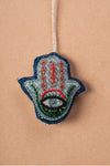 Blue Hamsa Hand Embroidered Hanging Ornament