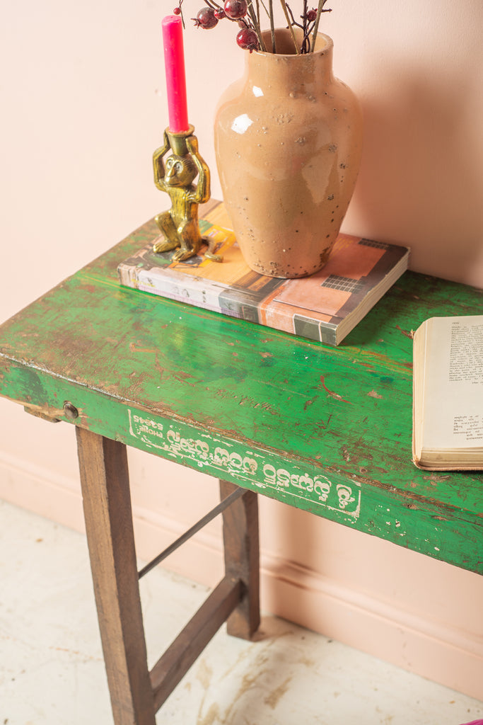 Vintage Green Trestle Table