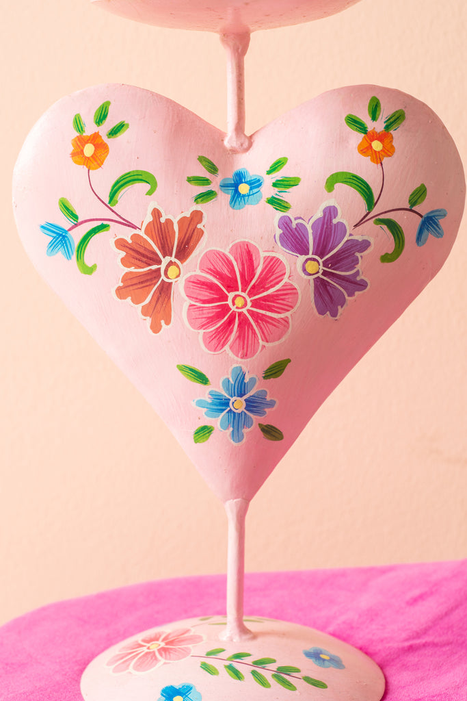Pink Hand Painted Iron Heart Candle Holder