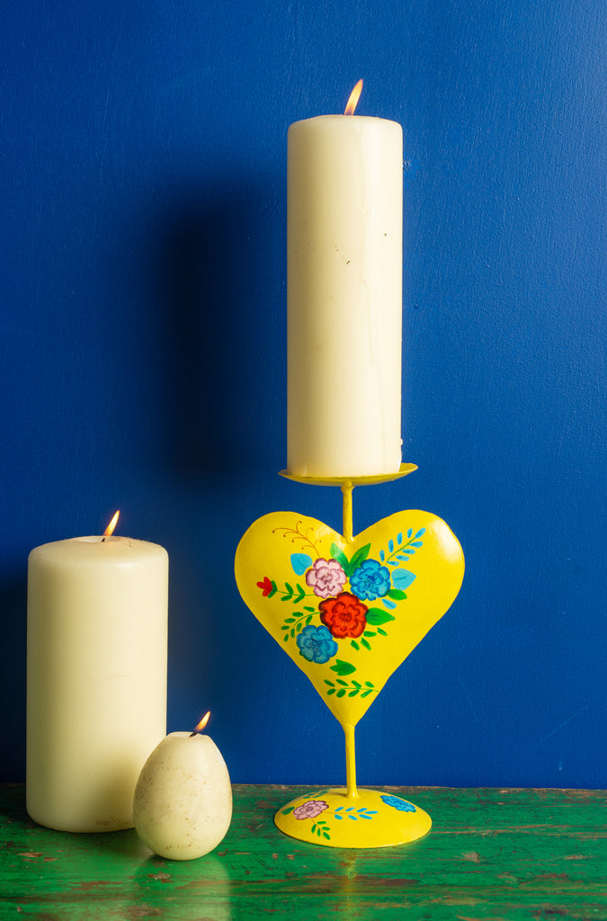 Yellow Hand Painted Iron Heart Candle Holder