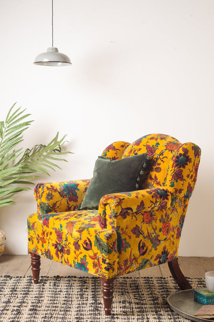 Mustard Tree of Life Velvet Armchair