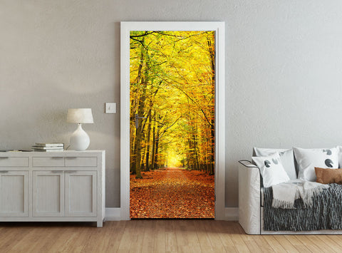 ohpopsi Path Through A Forest In Autumn Accent Wall/Door Mural