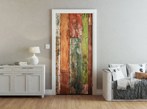 ohpopsi Abstract Grunge Weathered Wood Accent Wall/Door Mural