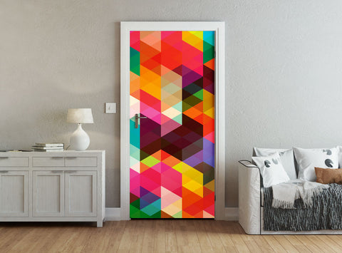 ohpopsi Modern Design Colourful Geometric Triangle Pattern Accent Wall/Door Mural