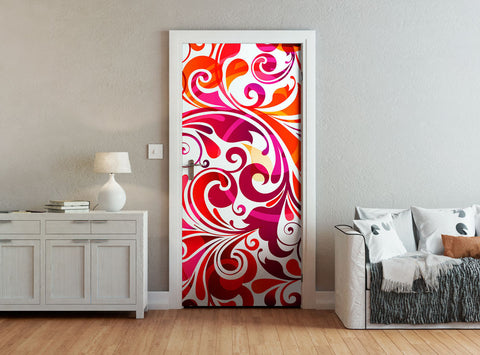ohpopsi Purple And Red Swirly Abstract Door Mural