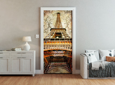 ohpopsi Eiffel Tower Paris From Below Vintage Door Mural