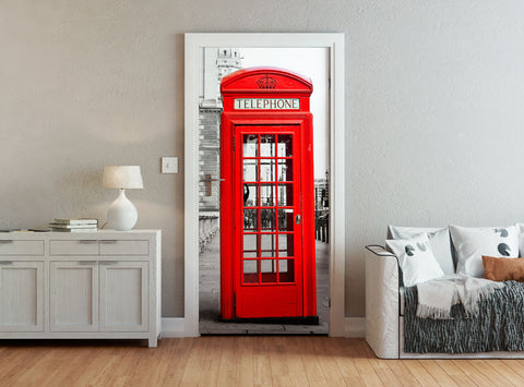 ohpopsi Red London Telephone Box Accent Wall/Door Mural