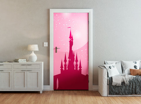 ohpopsi Pink Fairy Castle And Stars Children's Door Mural