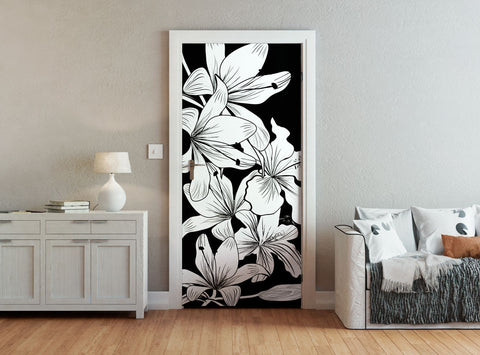 ohpopsi Black And White Flowers Door Mural