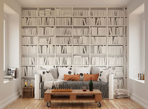 Ohpopsi modern minimalist bookcase wall mural for Bookshelf wall mural