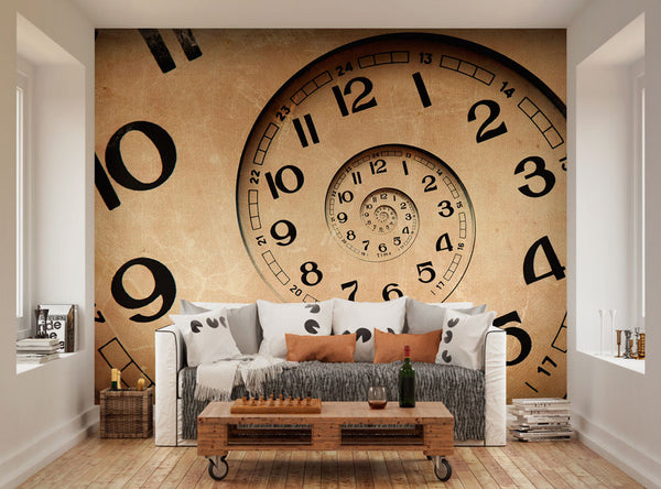 Ohpopsi vintage infinity clock wall mural for Clock wall mural