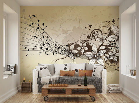 ohpopsi Abstract Musical Floral Wall Mural