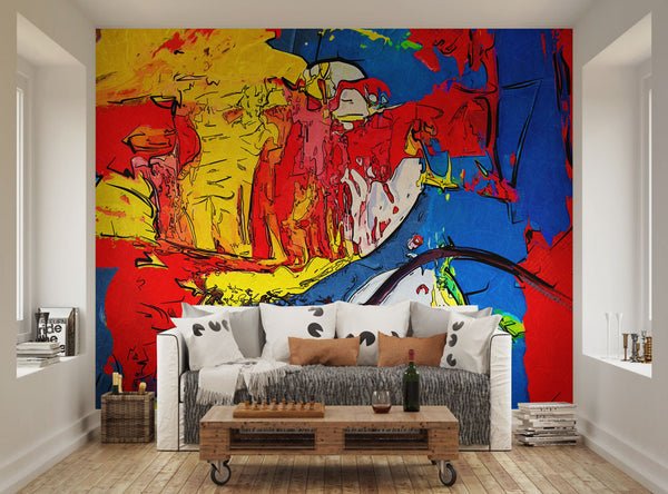 ohpopsi vibrant colourful abstract painting funky wall mural funky wall mural amp funky wallpaper wallsauce