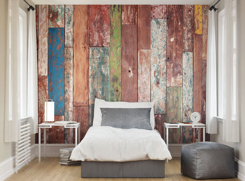 ohpopsi Abstract Grunge Weathered Wood Wall Mural