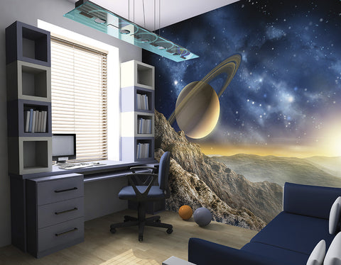 ohpopsi Planet Saturn Outer Space Wall Mural