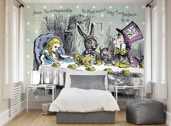 Ohpopsi alice in wonderland tea party wall mural for Alice in wonderland wallpaper mural