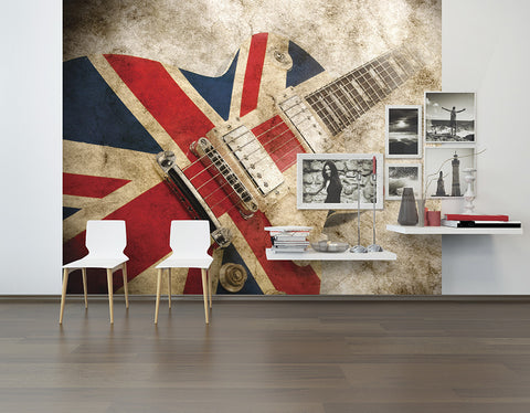 ohpopsi Great British Union Jack Rock Guitar Grunge Wall Mural