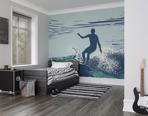 ohpopsi Etched Surfer Wall Mural