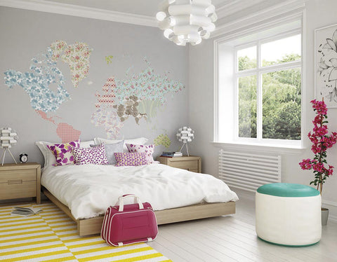 ohpopsi Ditsy Map Wall Mural
