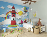 ohpopsi Rainbow Lighthouse Wall Mural