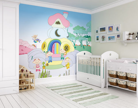 ohpopsi Cloudyhouse 2D Cloudbabies Wall Mural