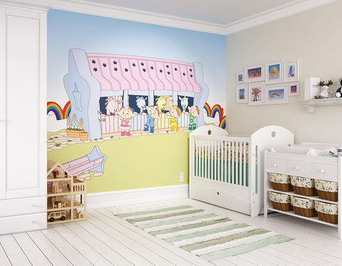 ohpopsi Skyhorsies At The Stables 2D Cloudbabies Wall Mural