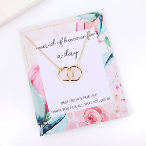 Personalised floral maid of honour proposal card necklace gift
