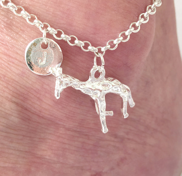 Silver personalised initial Giraffe Anklet